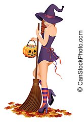 Beautiful witch with a broom.
