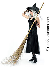 beautiful witch with broom