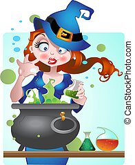 beautiful Witch with copper of poison