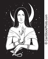 Beautiful brunette witch with serpent in her hands and crescent moon above her head line art and dot work. Boho chic tattoo, poster, tapestry or altar veil print design vector illustration