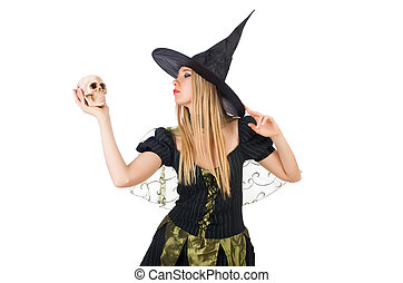 Beautiful witch with skull isolated on white