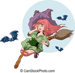 Beautiful witch woman flying