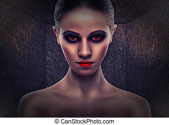 woman a witch, evil. Halloween - beautiful woman a witch, ...