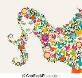 Beautiful woman abstract flowers hair illustration