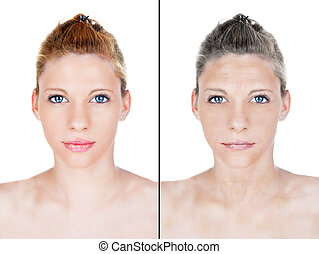 beautiful woman aging process portrait. Female model with...