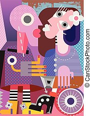 Beautiful Woman and Her Mannequin modern fine art painting. Abstract vector illustration.