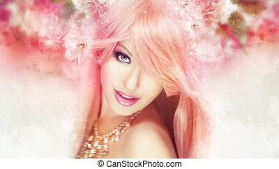 Beautiful woman artwork - Beautiful woman in a soft,...