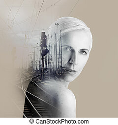 Beautiful woman artwork with rails and urban landscape, double exposure, overlay