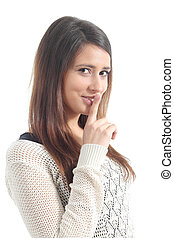 Beautiful woman asking for silence with forefinger