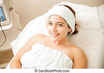 Beautiful woman at a beauty spa