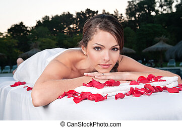 Beautiful woman at a day spa - Portrait of an beautiful...