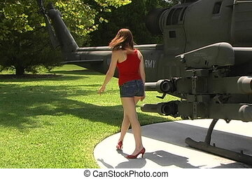 Beautiful Woman at Helicopter