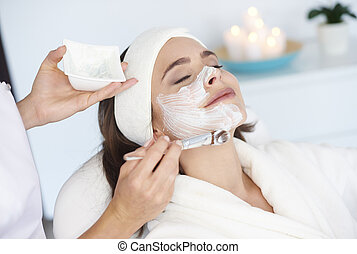 Beautiful woman at the spa salon