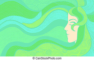 Beautiful woman background - Hand drawn abstract vector...
