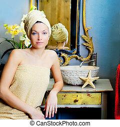 beautiful woman bathroom portrait with towel
