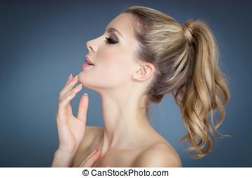 Beautiful Woman - Beautiful blond girl profile with pony ...