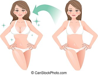 Beautiful woman before and after cosmetic surgery in white...