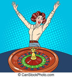 Beautiful Woman Behind Roulette Table Celebrating Big Win. Casino Gambling. Pop Art Vector retro illustration