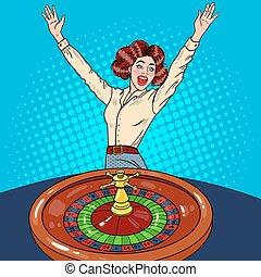 Beautiful Woman Behind Roulette Table Celebrating Big Win. Casino Gambling. Pop Art Vector retro illustration