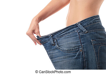 Weight loss concept. - Beautiful woman belly over white....