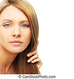 Beautiful woman, blond hair isolated - beauty background