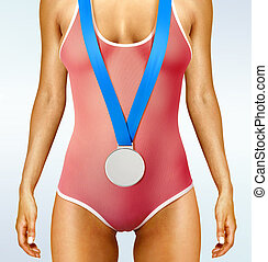 beautiful woman body with medal
