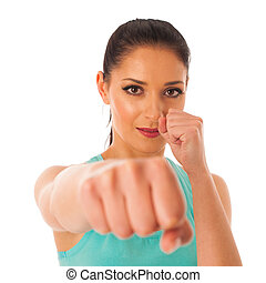 Beautiful woman boxing into copy space isolated over white background