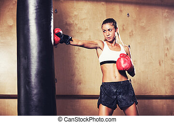 Beautiful Woman Boxing with Red Gloves - Beautiful Fitness...