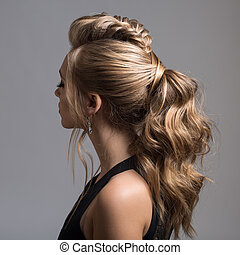 Beautiful woman. Braid Tail Hairstyle.