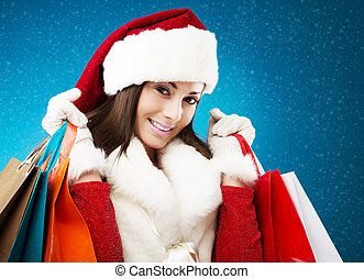 Beautiful woman christmas shopping