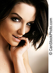 Beautiful Woman - Close up of a beautiful woman in front of...