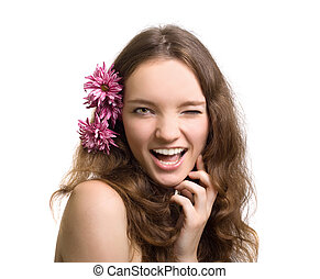 beautiful woman closeup portrait with flower isolated
