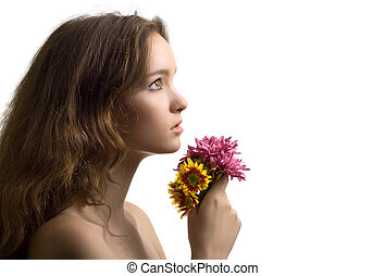 beautiful woman closeup sideview portrait with flower isolated