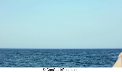 beautiful woman contemplating sea