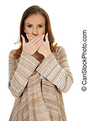 Beautiful woman covering mouth.