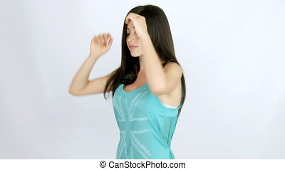 beautiful woman dancer long hair