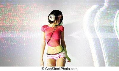 beautiful woman dances alone
