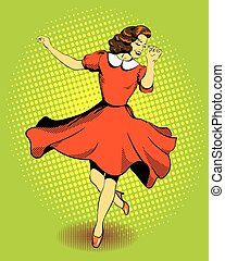 Beautiful woman dancing. Vector illustration in comics retro pop art style