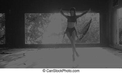 Beautiful woman dancing with lace fabric - Beautiful woman...