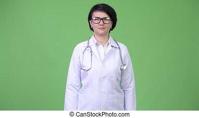 Beautiful woman doctor wearing eyeglasses