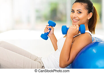 beautiful woman doing fitness exercise