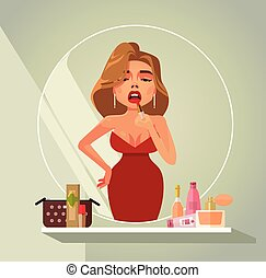 Beautiful woman doing make up dye lips in mirror reflection. Beauty concept isolated flat cartoon graphic design illustration