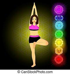 Beautiful woman doing yoga. Meditation with seven chakras.