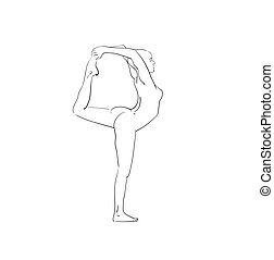 beautiful woman doing yoga sketch, black on white - Vector...