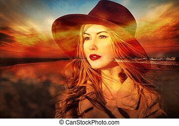 woman dreamer on the beach