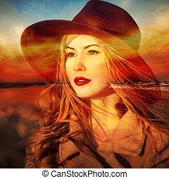 Beautiful woman dreamer