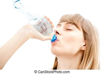 beautiful woman drinking
