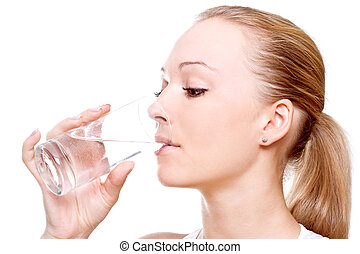 beautiful woman drinking water on a white background