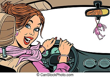 Beautiful woman driver in car. Isolate on a white background. In
