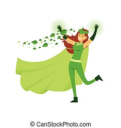 Beautiful woman eco superhero in costume, mask and green...